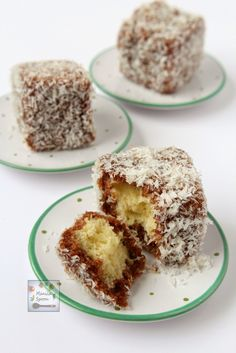 Lamingtons - Delicious sponge cake dipped in chocolate sauce and then covered all over with shredded coconut, what's not to love?
