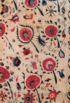 SHAKHRISYABZ SUZANI  238 x 193 cm Beginning 19th century or earlier  UZEBEKISTAN