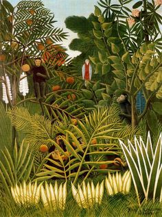 Henri Rousseau Exotic Landscape 1908 painting for sale - Henri Rousseau Exotic Landscape 1908 is handmade art reproduction; You can buy Henri Rousseau Exotic Landscape 1908 painting on canvas or frame. Art And Illustration, Henri Rousseau Paintings, Jungle Art, Jungle Animals, Kunst Poster, Tile Murals, Post Impressionism, Inspiration Art, Art Moderne