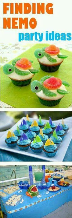 Made the turtle cupcakes one year, it was great :-)Finding Nemo Party Ideas. Made the turtle cupcakes one year, it was great :-) 2nd Birthday Parties, Birthday Fun, Birthday Ideas, Birthday Wishes, Ocean Party, Beach Party, Shark Party, Luau Party, Finding Nemo