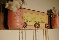 You are My Sunshine board with three knobs by SplintersAndNails, $39.50
