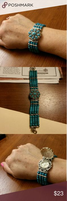 Turquoise Braclet/ Watch.  New battery. Beautiful Turquoise inspired combination watch and braclet.  New battery installed July . Jewelry