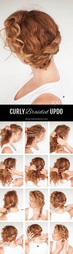 Hair Romance - curly hair tutorial - braided updo for curls