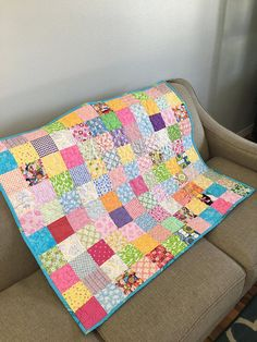 Scrap quilt colored blanket READY TO SHIP Modern baby