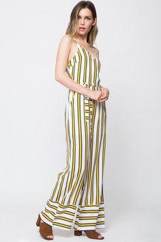 51b1e6c4e63 Yellow Blue Striped T-Strap Jumpsuit