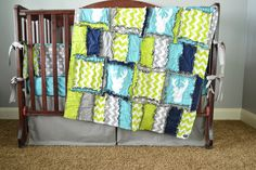 Woodland Baby Crib Bedding for Boys in Lime Green, Grey, Navy Blue with Deer Applique