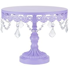 "- 10"" diameter tray top with a sturdy metal base - The stand is 8.25"" tall, and weighs 2.2 lb - Hand-painted with a semi-matte lavender purple finish and draped with beautiful glass crystal pendants;"
