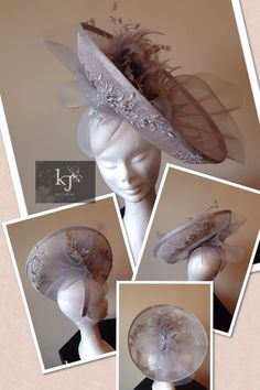 #kjmillinery silver curved fascinator with lace and crin detail