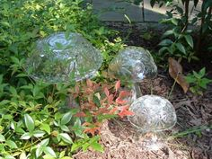 Trio of mushrooms.  Great gift for a gardener!  www.ReCreationsInGlass.com