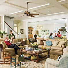 This ceiling for the living room.......Style Guide: 90 Inviting Living Room Ideas | Make Room for Family | SouthernLiving.com.
