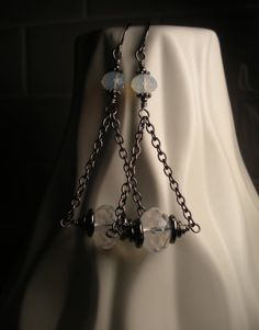 Moonstone and Gunmetal Devo Delights Earrings by TwinFlameDesigns on Etsy, $16.74