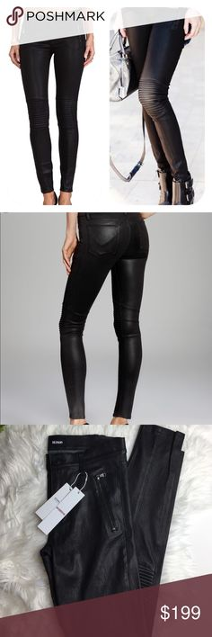 NWT 1096$ Hudson lamb leather black moto skinny Textured panels lend a futuristic quality to shapely Hudson leather pants. Exposed zippers accent the hips, maintaining the moto-inspired look. Faux front pockets and patch back pockets. Single-button closure and zip fly.   100% French lamb naps stretch   MEASUREMENTS Rise: 9in Inseam: 29.5 Hudson Jeans Jeans Skinny