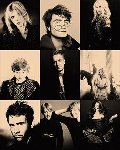 In order from left>right and top>bottom: Clemence Poesy, Daniel Radcliffe, Evanna Lynch, Rupert Grint, Tom Felton, Emma Watson, Matt Lewis, James and Oliver Phelps, and Bonnie Wright.
