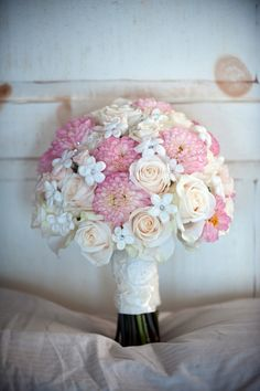 Very traditional style bridal bouquet of ivory roses, pink dahlias, and white stephanotis. Floral Wedding, Wedding Bouquets, Wedding Flowers, Cascading Bouquets, Wedding Dresses, Summer Wedding, Our Wedding, Dream Wedding, Fantasy Wedding
