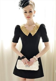 GOLD SEQUINED COLLAR DRESS