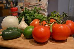 Easy homemade blender salsa, added cumin, garlic salt and hot sauce