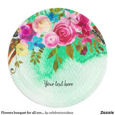 #Flowersbouquet #flowers #floral #watercolor for all occassions. Available in different products: invitation, business card, #paperplate etc. Check more at www.zazzle.com/celebrationideas