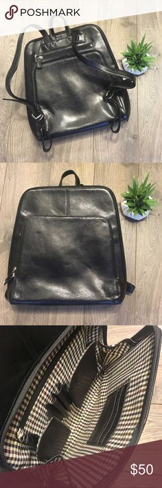 Mimi DiCarlo Leather Lizard Grain Backpack Bag Excellent condition! Clean inside & out. Leather is still stiff & will age beautifully.  This bag is gorgeous & has many uses. Great for laptop, work, everyday purse, travel, etc. An ageless piece you can use for the rest of your life.   Large interior pocket has a divider inside. From pocket has slots for credit card, space for cell phone, pens, wallet and zipper pocket. Back zipper pocket.  Adorable backpack measures about 13.5 inches tall and…