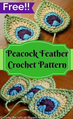 Beautiful crochet peacock feather applique. Free pattern! Tutorial also available.