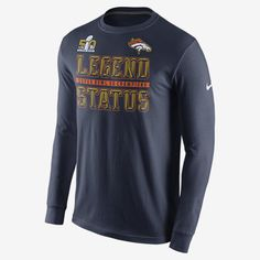 """REPRESENT YOUR TEAM The long-sleeve SB50 Nike """"Legend Status"""" (NFL Broncos) Men's T-Shirt pays homage to the world champs with large team print on soft cotton for pride and a comfortable fit. Product Details Rib cuffs and crew neck with interior taping Fabric: 100% cotton Machine wash Imported"""