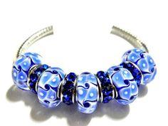 european bead Bracelet Blue charms PB829    | egrobeck - Jewelry on ArtFire