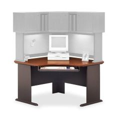 """Bush Industries Corner Desk,47-1/4""""X47-1/4""""X29-7/8"""",Hansen Cherry/Galaxy by Bush. $644.60. Bush Industries Corner Desk,47-1/4""""x47-1/4""""x29-7/8"""",Hansen Cherry/GalaxySeries A Collection offers durable 1"""" thick melamine surfaces on work surfaces that resist scratches and stains. Durable PVC-edge banding protects desk from bumps and collisions. Furniture has sturdy molded ABS feet with steel insert and adjustable levelers for stability on uneven floors. Desktops and legs have ..."""
