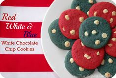 Red, White, & Blue Chocolate Chip Cookies ~ via @tweetestsavings ~ #chocolateaters #Pinterest #Fourth
