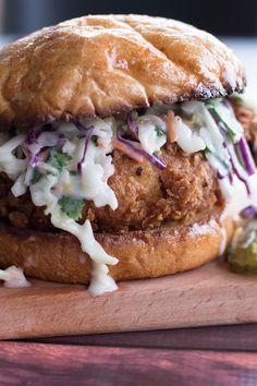 Buttermilk Fried Chicken Sandwich with Cilantro Jalapeño Coleslaw - Savory Spicerack