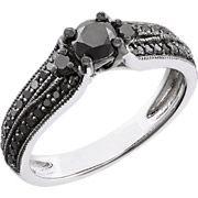 3/4 Carat T.W. Black Diamond Sterling Silver Engagement Ring (6…  $219.00