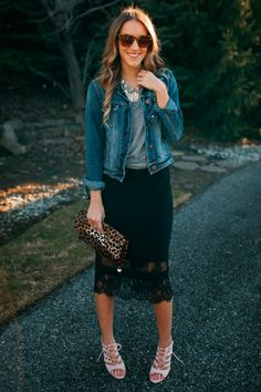 Black lace hemmed pencil skirt with a grey tee, jean jacket and leopard clutch