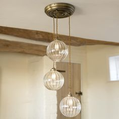 This three #light #pendant would be the perfect choice over a #dining table or even in a #hallway or #landing; hanging down a #stairwell