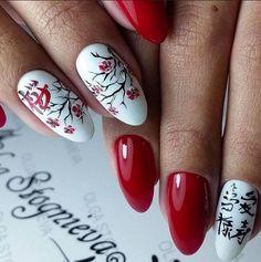 сакура на ногтях, маникюр с цветами, красные ногти, красивый маникюр, шилак, гель-лак