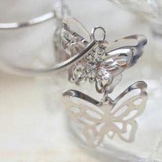 3D Butterfly Earrings Eyebrow Jewelry, Butterfly Earrings, Heart Ring, Jewelry Design, Engagement Rings, 3d, Diamond, Accessories, Fashion