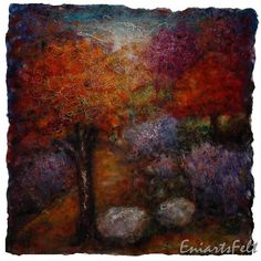 Felt autumn landscape picture , Felt art painting , Felt wall art , Fiber art picture , Painting with wool , OOAK