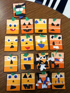 """Spookley "" the square pumpkin. Created by 4 year old students. Use paint chips and construction paper Fall Preschool Activities, Halloween Activities, Preschool Crafts, Preschool Halloween, Preschool Fall Theme, Preschool Apples, Halloween Class Party, Halloween Themes, Halloween Crafts"