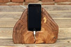 Live+edge+Wooden+iPhone+6+stand,+Samsung+Galaxy+S6/7+dock,+Rustic+Docking+station,+Gift+for+him,+iPhone+6s+live+edge+dock,+Woode…