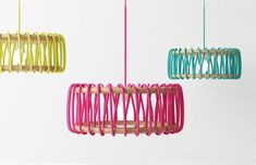 "penchant-for-design: Spanish designer Silvia Ceñal Idarreta has created the Macaron lamp. ""Macaron lamp started when I discovered everything that could be done with fabrics and laces. I wanted to mix wood and a simple lace."