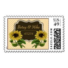 Matching Sunflower Wedding Postage! Customize with the names of the bride and groom!