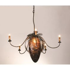 47 Inch W Pinecone 5 Light Chandelier - Custom Made. 47 Inch W Pinecone 5 Light ChandelierA large lighted Pinecone constructed of hand cut Bark Brown granite glass is adorned with Pine bough covered arms that terminate in elegant simulated wax candles. This handsome five arm chandelier has an Antique Copper and a rustic lodge appeal. All metal work is handcrafted in the USA by Meyda artisans. Theme:  RUSTIC LODGE TIFFANY ART GLASS COUNTRY Product Family:  Pinecone Product Type:  CEILING...