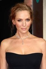 BAFTAs 2014 presenter Uma Thurman wore a necklace by Chopard featuring 32ct of diamonds, diamond stud earrings, a heart-shaped diamond bracelet and a ring from the Chopard Temptations collection.