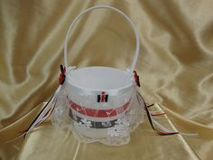 White Flower Girl Basket with Red and Black Case IH by StarBridal, $29.95