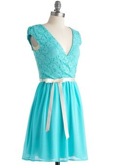 Champagne at Midnight Dress in Pale Sky, #ModCloth