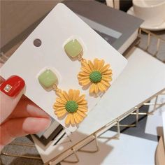 Charm Jewelry 2020 New Daisy Flower Earrings For Women Korean Styles Spring Summer Boho Jewelry Beach Holiday Pendientes Accessories | Touchy Style Cute Earrings, Unique Earrings, Flower Earrings, Women's Earrings, Earrings Handmade, Silver Charm Bracelet, Charm Jewelry, Boho Jewelry, Pinterest Jewelry