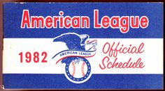 1982 AMERICAN LEAGUE OFFICIAL BASEBALL SCHEDULE BOOKLET EX+NM FREE SHIPPING #Booklet #SCHEDULE