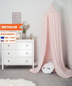 Premium Muslin Cotton Canopy light pink, Tent canopy, Bed Canopy, Crib Canopy, kids canopy, Play room canopy by cozydots on Etsy Canopy Bed Curtains, Baby Canopy, Kids Canopy, Canopy Tent, Childrens Bed Canopy, Princess Canopy Bed, Hanging Tent, Canopy Lights, Pink Kids