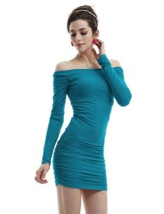 Doublju Fitted Dress With Open Shoulder In Stretch Cotton Spandex Teal M from Picsity.com