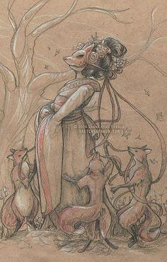 """""""The Fox Bride (Kitsune)"""" illustration by Sarah René Straub (http://sketchystraub.com)"""