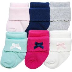 Infant Newborn Baby Girls 0-9 Months Turn Cuff Solid Crew Socks LOT 12 PAIR NEW