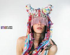 Myers Trujillo UTHA white shamanana hat with horns .tribal shaman style hat with horns. via Etsy. Festival Outfits, Festival Fashion, Headdress, Headpiece, Hippie Bohemian, Boho, Crazy Hats, Playing With Hair, Textiles