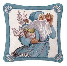 Needlepoint Coral and Shells Santa Wool Throw Pillow